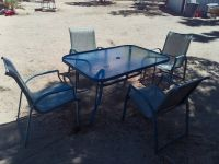 Patio Table and 4 Chairs Metal/Glass