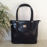 Authentic ANNE KLEIN tote in patent black - croc embossed