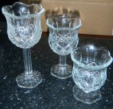 Home Interiors Stemmed Crystal Glass Trio Homco Diamond Cut Candle Holders Set