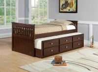 $329, 303 Twin Cappuccino Captains Bed Mission Style
