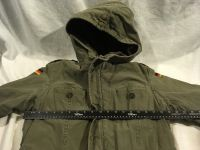 vintage german military olive drab green lined field cold weather coat w/ liner 02372