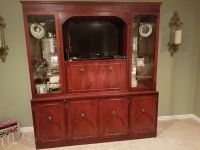 Beautiful Antique Mirrored Cherrywood Cabinet with Etched Glass