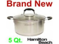NEW HAMILTON BEACH 5 Qt. QUART STAINLESS STEEL DUTCH OVEN