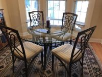 Glass Top Dining Room Table with 4 Chairs