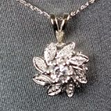 14K White Gold and 1/5ctw Diamond Flower Pendant w/Necklace