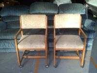 Two Nice Oak And Tweed Dinning Chairs