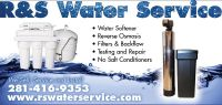 Softeners Installs. RS Water Service 281-416-9353
