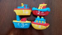 4 magnetic boat bath toys with numbers