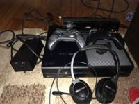 Xbox one with two controllers, all cords, and turtle beach headsets