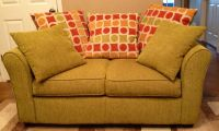 Cute Loveseat Light Green With Big Pillows (Nice Apartment or Student Sofa)