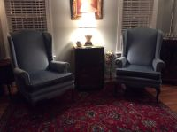Queen Anne wingback chairs (pair)