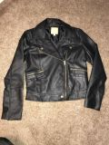 Never WORN Small black leather look jacket