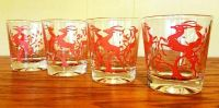 Vintage Retro Mid Century Red Gazelle Federal Lowball Glasses