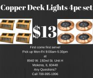 Copper deck lights 4pc set for lawn, garden, yard, patio
