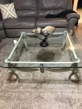 Beautiful HEAVY Beveled Glass & Metal coffee table and 2 end tables