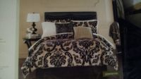 Queen bedding set black and tan