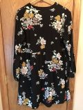 Women's Black Floral Dress, Old Navy, size L, worn once like new