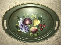 Toleware tray nashco handpainted autographed fruit