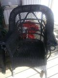 wicker patio furniture and plastic table and chair too