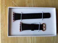 Apple Watch band 38mm black genuine leather w/rose gold/pink buckle