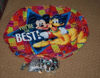 25 MYLAR MICKEY MOUSE PLUTO BALLOONS & 25 SMILEY FACE WEIGHTS & RIBBON