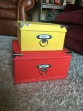 Yellow and red medium and large size decorative craft organizing boxes in excellent condition
