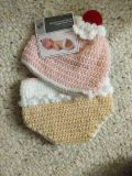Crocheted diaper cover and hat set