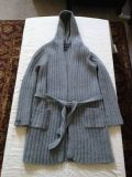 Womens Abercrombie Grey Knit Long Belted Sweater