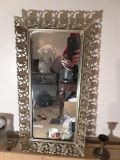 Vintage rectangle mirror with gold trim home decor Trey