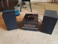 Sony iPod, CD, radio set with speakers and remote control