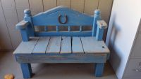 Upcycled blue wood bench