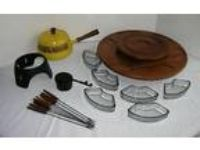 Vtg MCM WOOD LAZY SUSAN + Glass Bowls +Yellow ENAMEL FONDUE