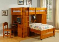 $549, BEAUTIFUL OAK LOFT BUNK BED- A must see Mattress Queen and More