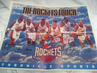 Houston Rockets NBA Newspaper Poster Signed 1995 Championship Barkley Autograph