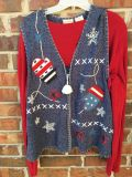 Ladies large winter holiday vest with bling (red shirt not included)