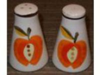 Retro Salt and Pepper Shakers- Ceramic- Made Japan- Fruit Apple