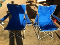 2 Blue Folding Chairs w/ Cupholders - Used