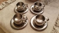 Set of 4 Stainless Steel Demitesse Expresso Cups/Saucers