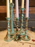 Set of 5 painted and distressed candleholders with candles