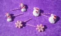 Resin Christmas on pink bobby pins want clause, snowman, snowflake