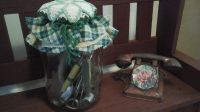 Vintage Kitchen Decor-Glass Pickle Jar Filled With Antique Kitchen Utensils