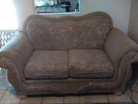 Embroidered Beige Loveseat and Couch
