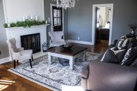 7x9 Cream and Gray Area Rug