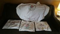 Very Pretty Vintage Set Embroidery Flowers Pillow Cover & Table cloth