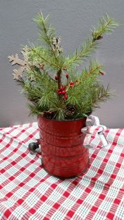 Antique red Bromwell Sifter with Tree