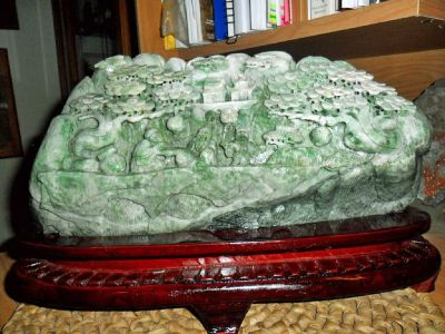 Beautiful and Exceptional Large Jadeite DuShan Jade Exceptionally Hand Carved Mountain Scenery