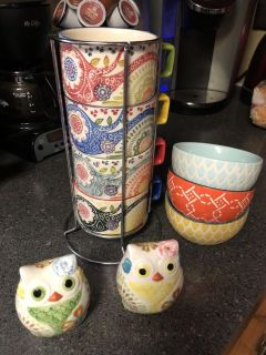 4 cups with holder, salt& pepper shaker, 3 dipping bowls