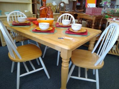Butcher block and white table and 4 chairs