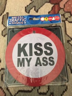 Metal traffic sign with suction cup