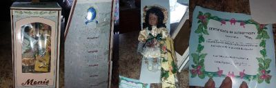 New in box porcelain doll with certificate